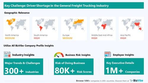 Snapshot of key challenge impacting BizVibe's general freight trucking industry group.