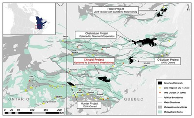 Figure 3. Kenorland Minerals Quebec Project Locations (CNW Group/Kenorland Minerals Ltd.)