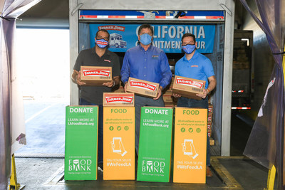 As part of its California Commitment Tour, representatives from Farmer John gather at the Los Angeles Regional Food Bank to donate over a quarter million servings of protein to the L.A. community. (From left: Max Bretos, LAFC broadcaster, Michael Flood, President and CEO of the Los Angeles Regional Food Bank, Jonathan Toms, Charitable Initiatives Manager at Smithfield Foods).