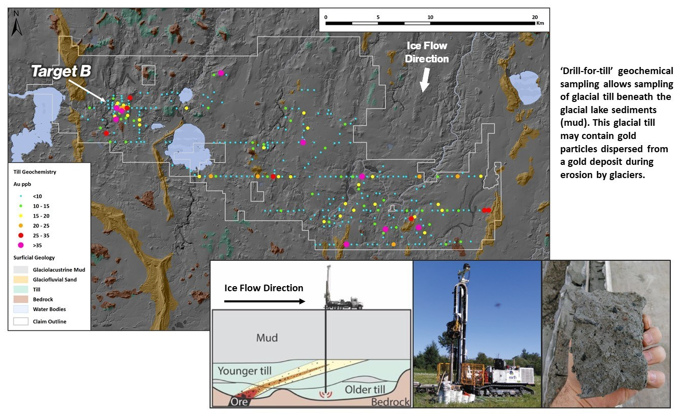 Figure 2. Chicobi Project Surficial Geology and Geochemistry Results (CNW Group/Kenorland Minerals Ltd.)