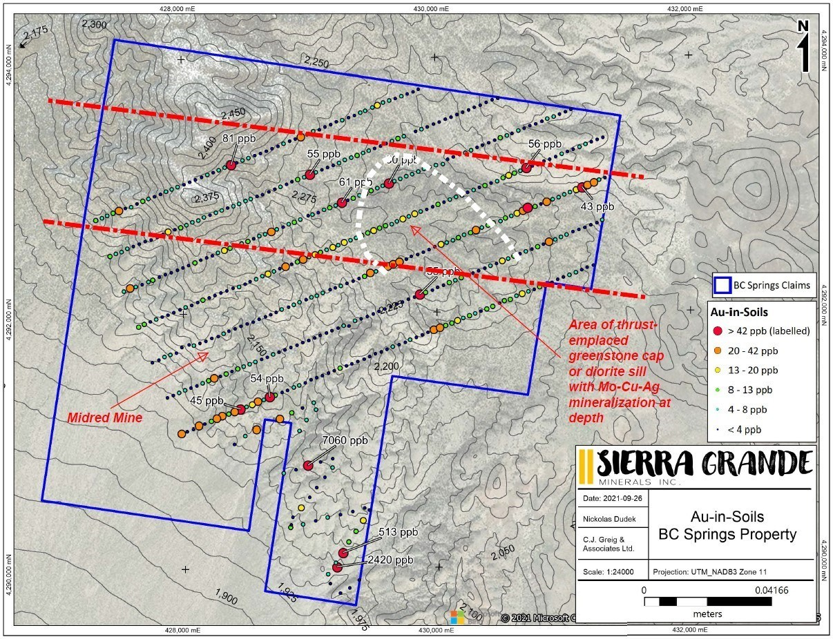 Figure 5. Gold-in-soil results for the B&C Springs-Mildred property. (CNW Group/Sierra Grande Minerals Inc.)
