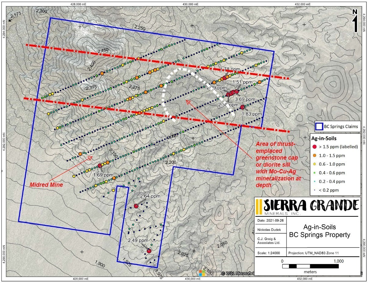 Figure 4. Silver-in-soil results for the B&C Springs-Mildred property. (CNW Group/Sierra Grande Minerals Inc.)