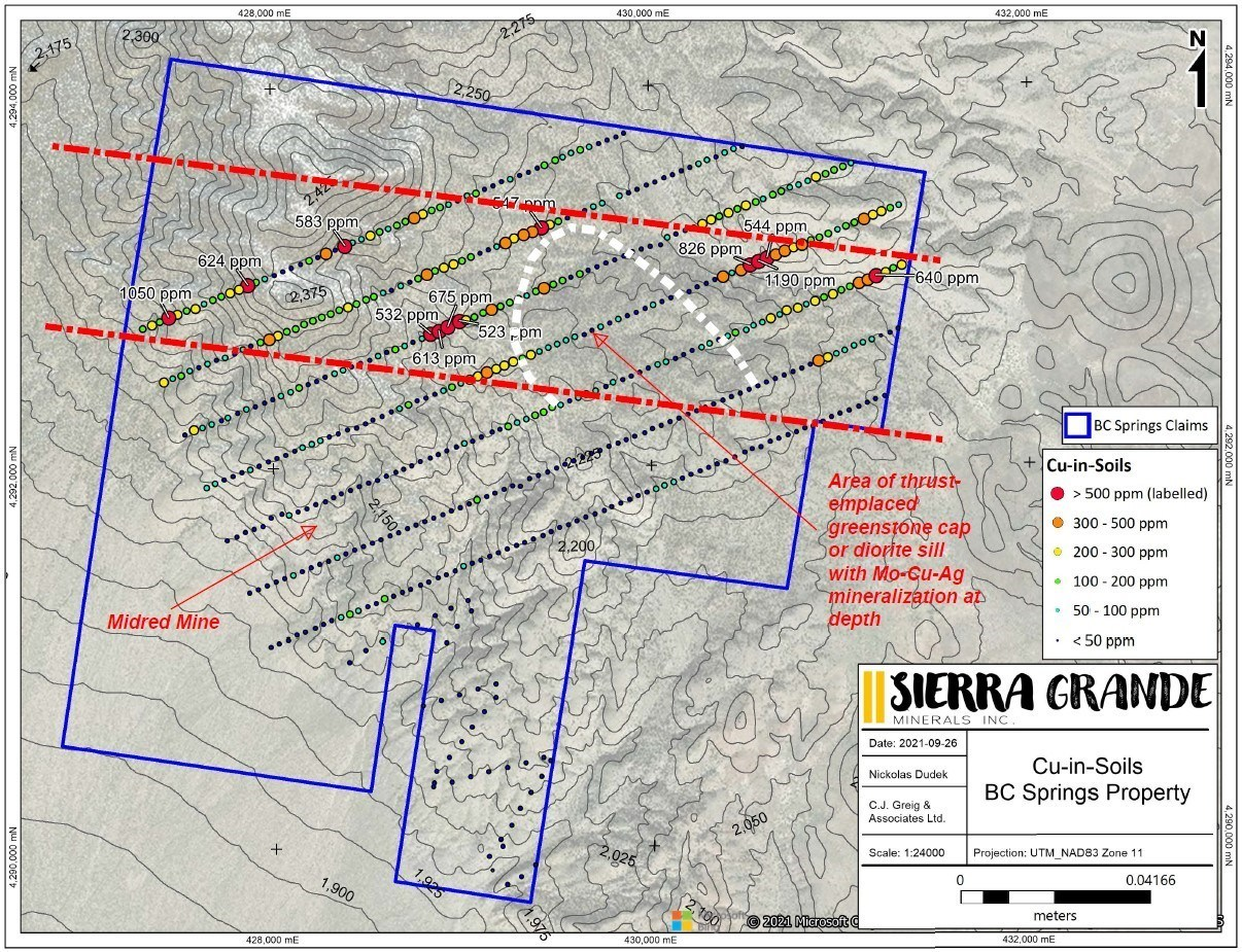 Figure 2. Copper-in-soil results for the B&C Springs-Mildred property. (CNW Group/Sierra Grande Minerals Inc.)