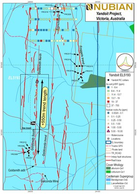 Figure 1: Drill locations for RC holes from Yandoit Project, Central Victoria. (CNW Group/Nubian Resources Ltd.)