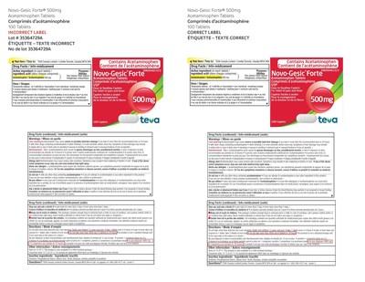 Novo-Gesic Forte(R) 500 mg 100 tablets (CNW Group/Teva Canada)