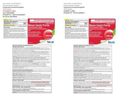 Novo-Gesic Forte(R) 500 mg 1000 tablets (CNW Group/Teva Canada)