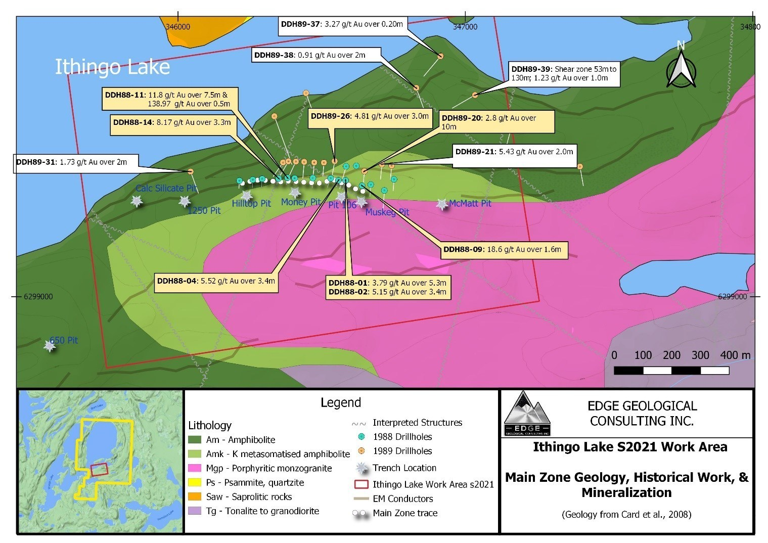 Inthingo Lake S2021 Work Area - Main Zone Geology, Historical Work, & Mineralization (CNW Group/SKRR Exploration Inc.)