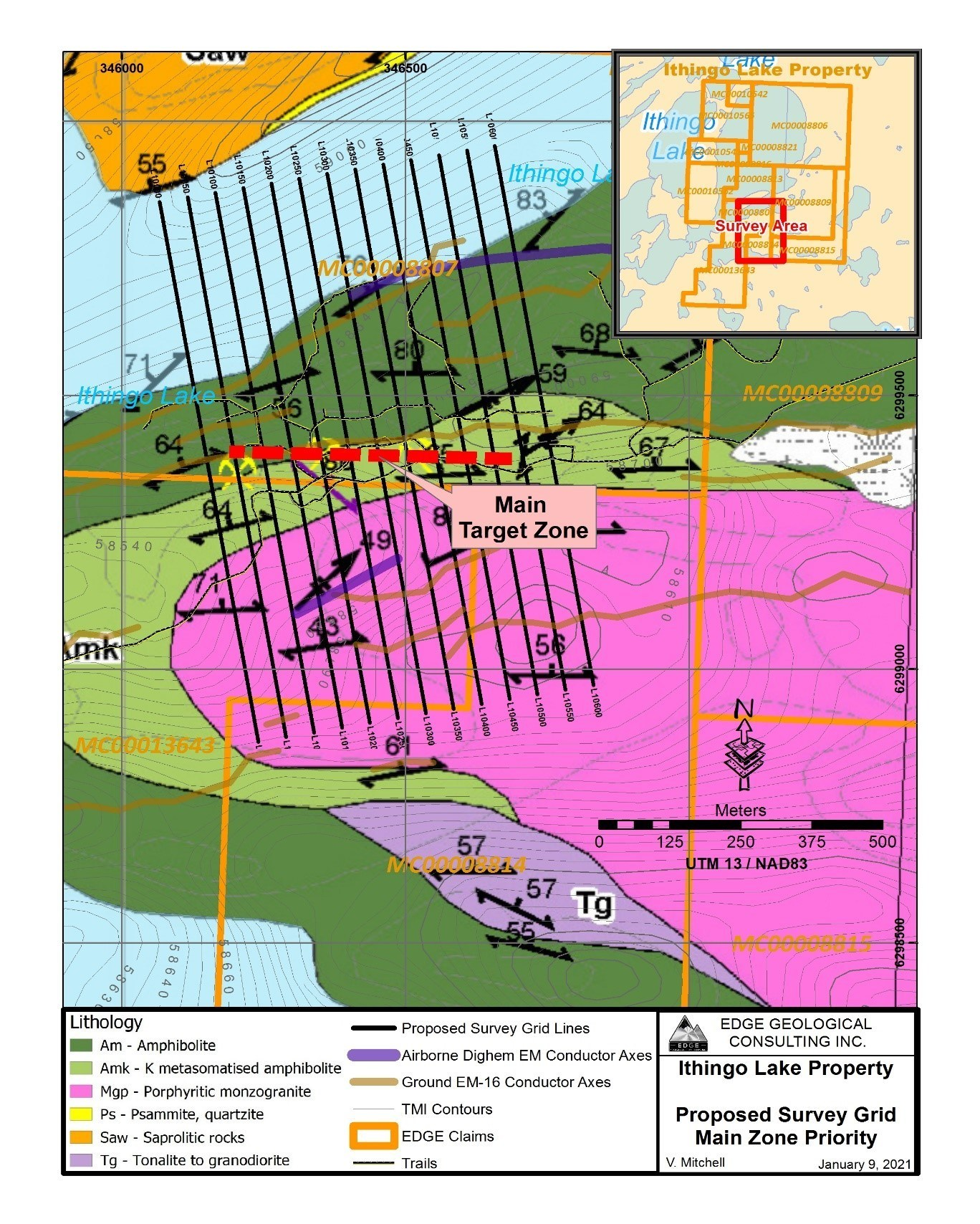 Ithingo Lake Property - Proposed Survey Grid Main Zone Priority (CNW Group/SKRR Exploration Inc.)