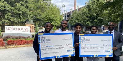 Team Househouse from Morehouse College won first place at Zillow's HBCU Housing Hackathon: (L-R) Paul Lockett, Joshua Curry, Grant Commodore,  Kendall Camp and Cameron Heard, program manager, equity & belonging at Zillow. Photo courtesy of Morehouse College