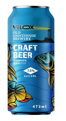 Digitally decorated can using Velox technology, showing wide color gamut and metallic colors on the fish image, selective digital matte on the waves and selective white for the text. In addition, end-to-end decoration includes the chime and necked area.