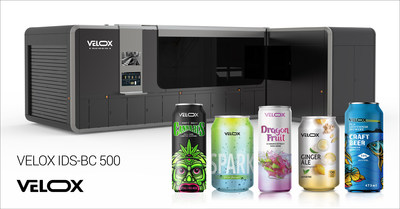 The Velox IDS-BC 500, a direct-to-shape digital decoration high-volume production solution for straight wall beverage cans, along with sample beverage cans digitally decorated using Velox solution.