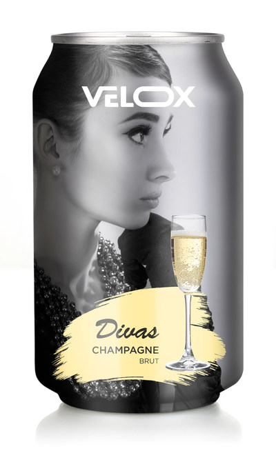 Digitally decorated using Velox technology, the can shows a photorealistic image with selective opaque white underneath the model, metallic colors on the background and champagne glass. The decoration goes all the way to the neck area, as well as the chime.