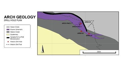 Figure 3: Close-up plan view of the Arch geology and drillhole locations (CNW Group/Nickel Creek Platinum Corp.)