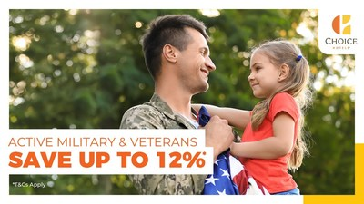 Active military and veterans can save up to 12% when booking at participating Choice-branded hotels.