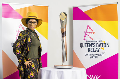 Spoken word artist, Amerah Saleh with the Queen's Baton at Birmingham Airport to launch 'The Relaytionship', an 'unfinished' poem which people are invited to contribute their own words to, coinciding with the launch of the Queen's Baton Relay ahead of the Birmingham 2022 Commonwealth Games. Photo credit should read: Fabio De Paola/PA Wire
