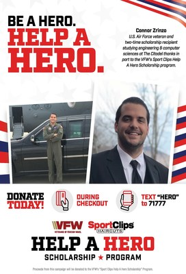 A haircut at Sport Clips or a text before November 13 can Help A Hero go back to school. Fundraiser kicks off today for the largest veteran scholarship program of its kind.