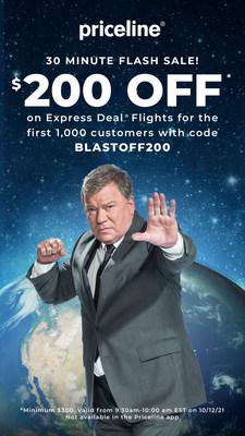 Priceline Launches Its Biggest Flight Sale Ever to Celebrate William Shatner's Journey to Space. (PRNewsfoto/Priceline)