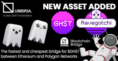 Online Blockchain plc: Cheap, Fast and Easy Bridging of Aavegotchi's GHST Token on Umbria Network