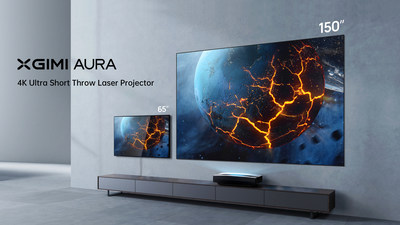 The new Aura projector displays images and videos in stunning 4K with ultra short-throw technology allowing for a screen to achieve a display size of a whopping 100 inches from just 8 inches away