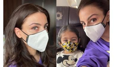 Soha Ali Khan with her daughter Inaaya wearing Airific 2.0 and Nirvana Masks from Nirvana Being