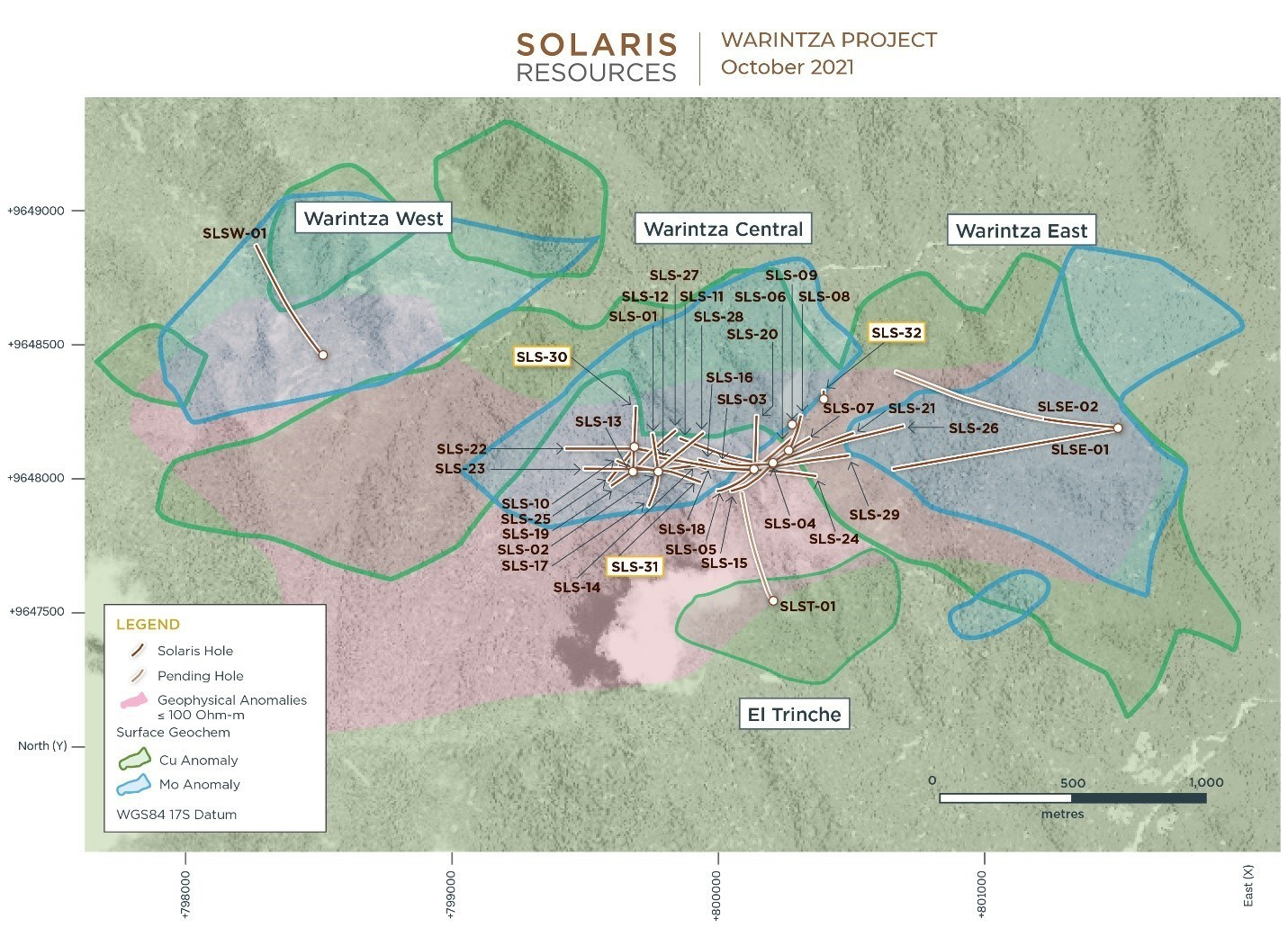 Figure 2 – Plan View of Warintza Drilling Released to Date (CNW Group/Solaris Resources Inc.)