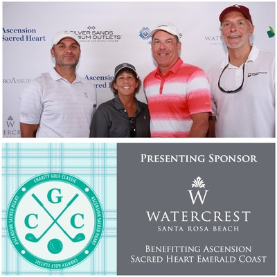 Jeremy Cairns, Watercrest VP of Construction Mgmt, Joan Williams, Watercrest Principal and CFO, and guests Chad Pippin and Kevin Murphy support the Ascension Sacred Heart Foundation as a team at the Charity Golf Tournament.