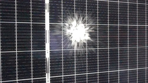 Hail strikes a solar module during PVEL's hail stress sequence, which is now a required test in PVEL's PV Module Product Qualification Program (PQP).