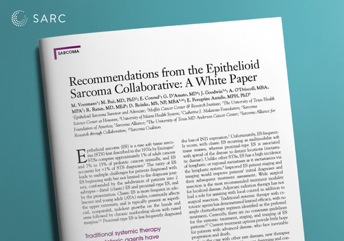 """""""Recommendations from the Epithelioid Sarcoma Collaborative: A White Paper"""" was recently published in the Journal of Oncology Navigation and Survivorship. The white paper publication is the result of a partnership between the Epithelioid Sarcoma Collaborative and SARC (Sarcoma Alliance for Research Through Collaboration)."""