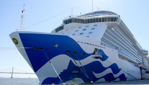 Majestic Princess, docked at Pier 27, marks the first cruise ship to return to San Francisco since the cruise industry pause in operations.