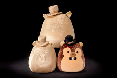 """""""Hans with Golden Details"""": the classic brown Squishmallows hedgehog with gold trim on his ears, top hat and bow-tie; only 10,000 will be made. """"Golden Hans"""": the classic Squishmallows hedgehog but entirely gold, dons a celebratory top hat and bow-tie; only 3,000 will be made."""