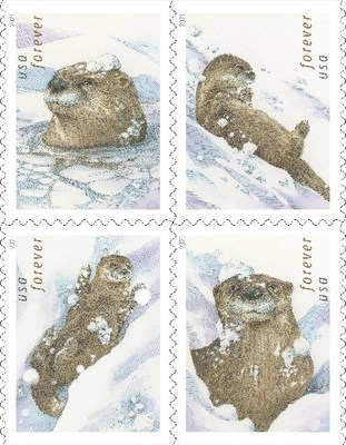 Otters in the Snow Forever stamps