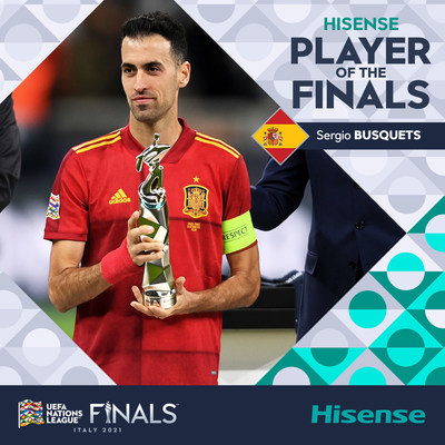 Sergio Busquets of Spain has been named Hisense Player of the Finals following the UEFA Nations League decider at Milan's San Siro