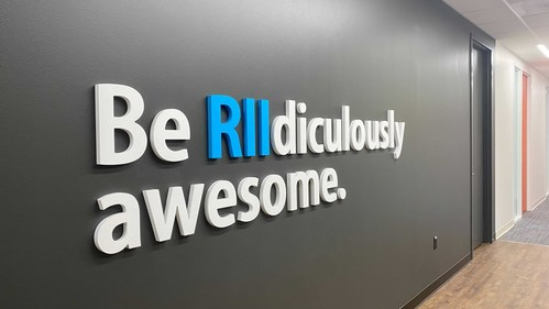 Signage in RII's San Antonio office representing the company's core purpose of creating RIIdiculously Awesome® solutions that make the world safer.