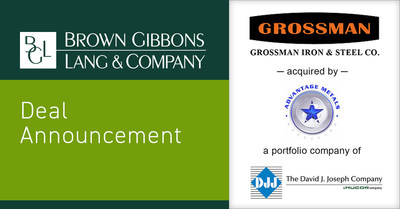 Brown Gibbons Lang & Company is pleased to announce the sale of Grossman Iron and Steel Company (Grossman) to The David J. Joseph Company (DJJ), an operating subsidiary of Nucor Corporation (Nucor). BGL's Metals & Metals Processing team served as the exclusive financial advisor to Grossman in the process. The specific terms of the transaction were not disclosed. The transaction highlights the experience of the BGL team with businesses operating in ferrous and non-ferrous scrap metal processing.