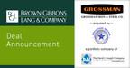 BGL Announces the Sale of Grossman Iron and Steel Company...