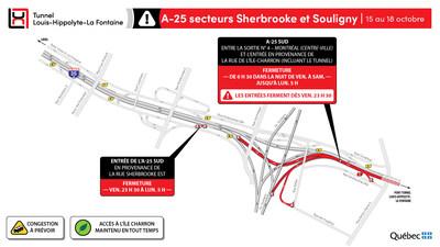 A-25 secteurs Sherbrooke et Souligny (Groupe CNW/Ministère des Transports)
