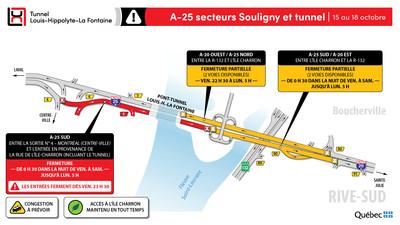 A-25 secteurs Souligny et tunnel (Groupe CNW/Ministère des Transports)