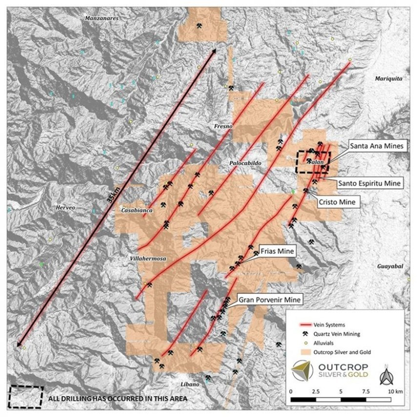 Figure 2. Property map with interpreted structure/vein trends (red), historic mines and prospects and drilling area of discovered shoots to date. Less than 10% of the project has received drilling to date. (CNW Group/Outcrop Silver & Gold Corporation)