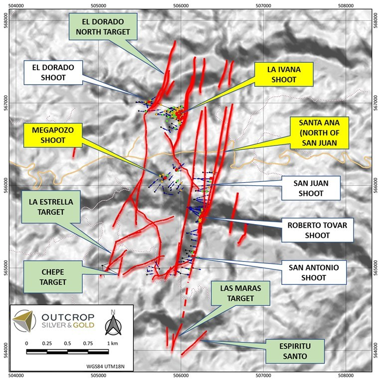 Figure 3: Close up map of drilling area (dashed polygon in Figure 2) showing the seven shoots (Two parallel upper and lower shoots in La Ivana) and drilling objectives for Phase 4. Drilling targets for Q4 2021 are shown with yellow call-out labels. Drilling targets for H1 2022 in green. (CNW Group/Outcrop Silver & Gold Corporation)