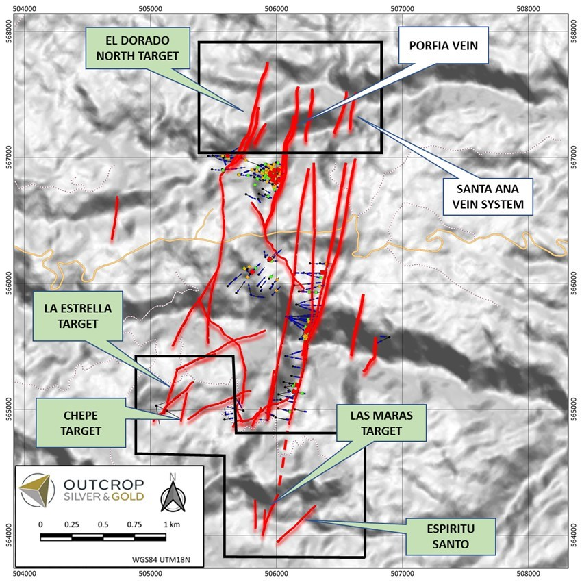 Figure 5. Map showing drilling areas (black polygons) and greenfields targets to be drilled in H1 2022 (green call outs). (CNW Group/Outcrop Silver & Gold Corporation)