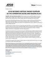 ATCO成为Edmonton Oilers和Rogers Place的官方能源供应商