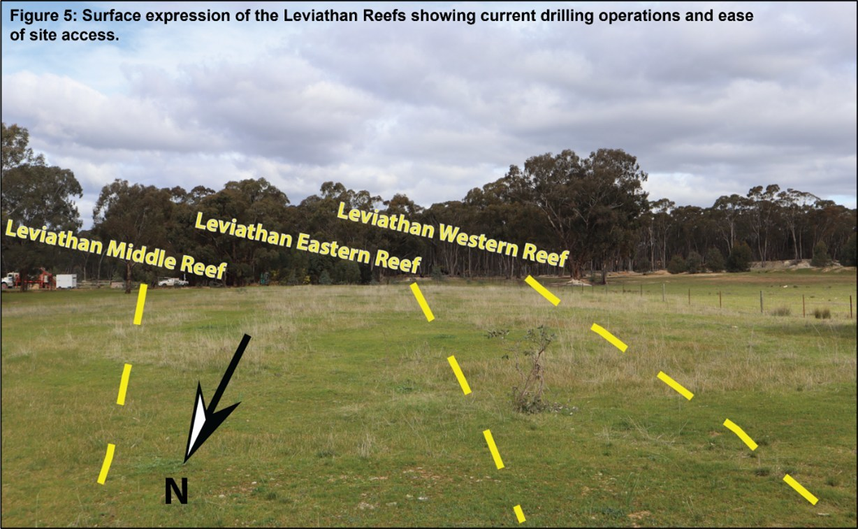 Figure 5: Surface expression of the Leviathan Reefs showing current drilling operations and ease of site access (CNW Group/Leviathan Gold Ltd)
