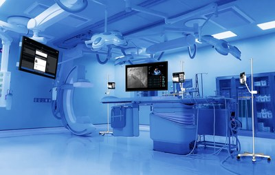 An interventional cardiology suite layout highlighting Explorer Live's minimal footprint and integration into a procedure suite. Explorer Surgical