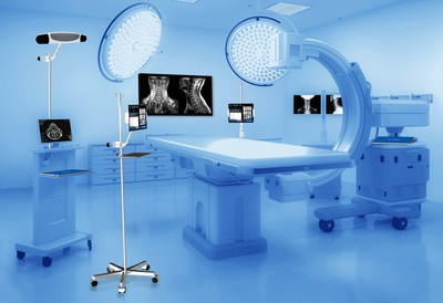 A layout of a general operating room and Explorer Live's integration with imaging devices, navigation systems, and minimal footprint in an operating room. Explorer Surgical