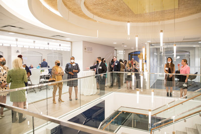 Fourth floor reception following the ribbon cutting ceremony for USSFCU's new Bertie H. Bowman headquarters building