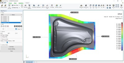 Material flow at the edge of the sheet metal for the fender of an automobile