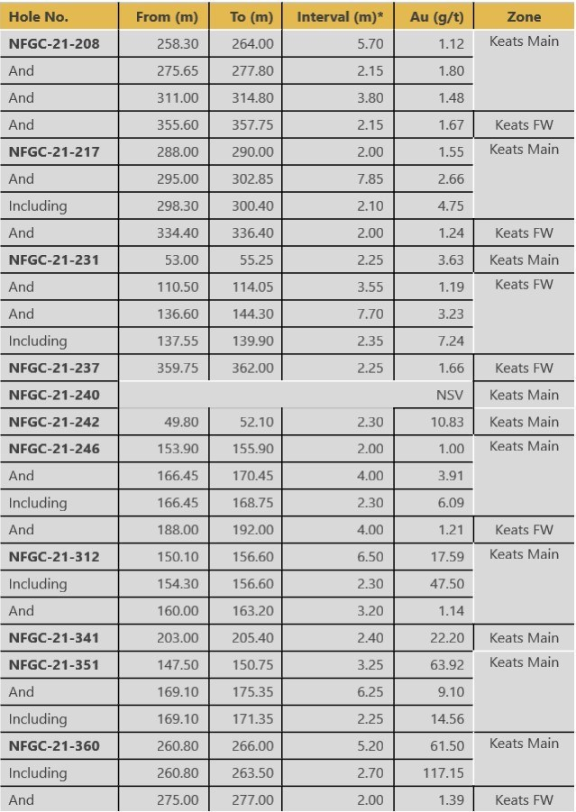 Table 2. Summary of results reported in this release (CNW Group/New Found Gold Corp.)