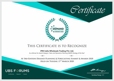 Sales and Operations Planning Strategy Award IPM India
