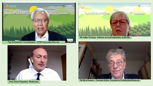 Speakers of the webinar challenged the free palm oil labels in the EU market.