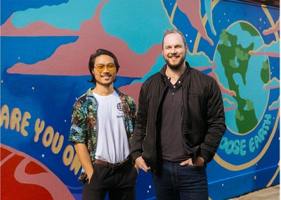 Artist Kent Yoshimura and Fifth Wall Partner Greg Smithies pictured in front of the mural.